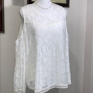 Lucky-Brand white cold shoulder solid jacquard XL